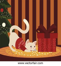 merry christmas cute cat with sweater gift and tree in home