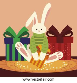 merry christmas cute rabbit with sweater and gifts