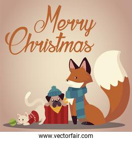 merry christmas cute fox dog and cat with sweater and scarf card