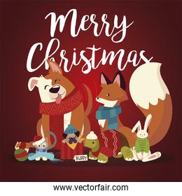 merry christmas cute animals with scarf sweater cartoon greeting card
