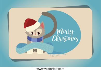 merry christmas cute little cat with scarf card sticker