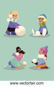 happy girls playing with the snowballs in winter season