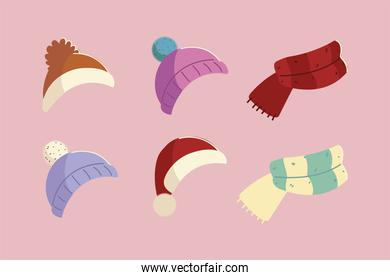 winter hats and scarf knitted accessory clothes icons design
