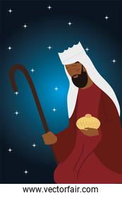 nativity melchior wise king with gift, stars background