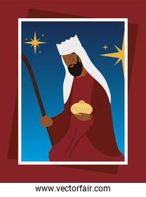 nativity melchior wise king with gift greeting card