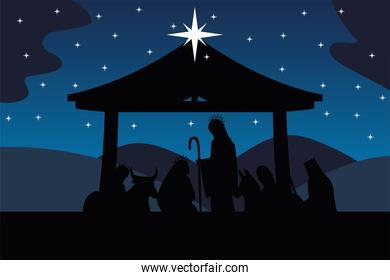nativity manger scene sacred family wise kings and animals in silhouette style