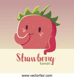 fruit kawaii cheerful face cartoon cute strawberry and lettering