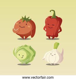 vegetables kawaii cute tomato pepper onion and cabbage cartoon style