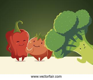 vegetables kawaii cute cartoon broccoli tomato and pepper