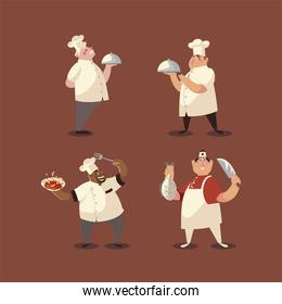 chefs in white uniform worker professional restaurant set