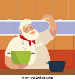bearded chef cooking with pot professional restaurant