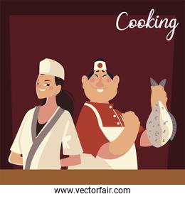 asian male and female chefs worker professional restaurant