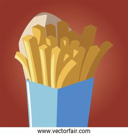 fast food french fries snack icon isolated image