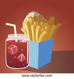 food french fries and juice fresh drink design