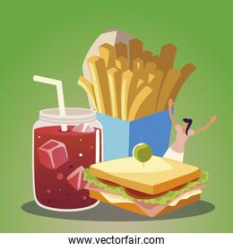 happy woman with french fries sandwich juice food