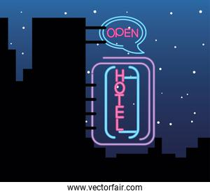 hotel street city, neon sign icon on background