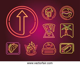 set of food and drinks neon sign icon on gradient background