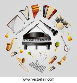 musical instruments set of wind, percussion and keyboard