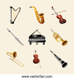 set of musical instruments include piano harp flute trumpet and others detailed