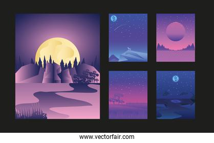 landscapes night moon starry sky nature set cards
