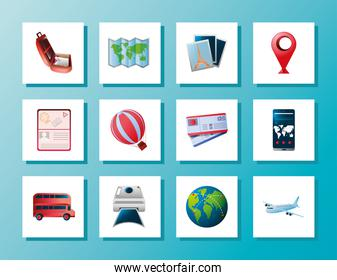 travel vacation and tourism icons suitcase map bus photo tickets