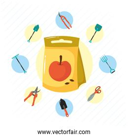 apple seed bag and gardening tools flat style icons