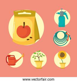 apple seed bag and gardening flat style icons