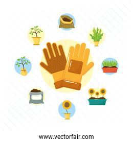 gloves and gardening tools flat style icons