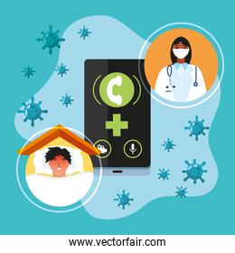 coronavirus covid 19 prevention female doctor and patient at home online consultation