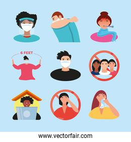 coronavirus covid 19 prevention icons set social distance, avoid crowded, wear mask