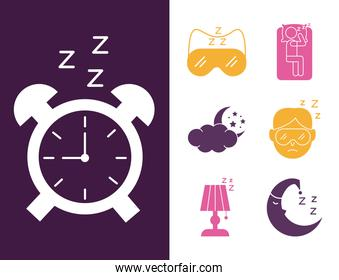 alarm clock with bundle of Insomnia silhouette style icons