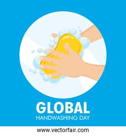 global handwashing day campaign with soap bar in circular frame