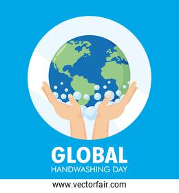 global handwashing day campaign with hands holding  earth planet and foam
