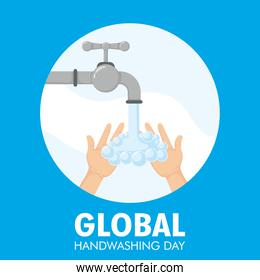 global handwashing day lettering campaign with hands and tap