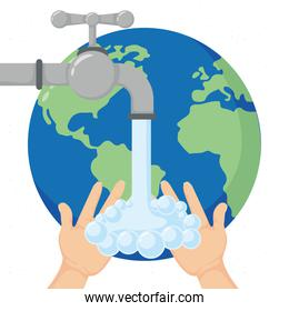 global handwashing day campaign with earth planet and tap