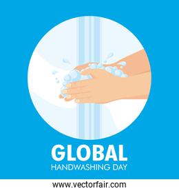 global handwashing day campaign with water and foam in circle frame
