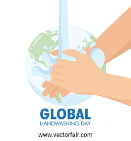 global handwashing day campaign with water in earth planet
