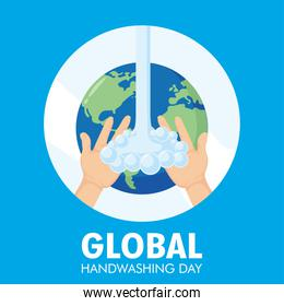 global handwashing day campaign with water and earth plane in circular frame