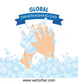 global handwashing day campaign with foam in ribbon
