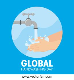 global handwashing day campaign with hands and tap in circular frame