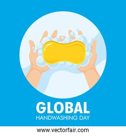global handwashing day campaign with soap bar and foam in circular frame