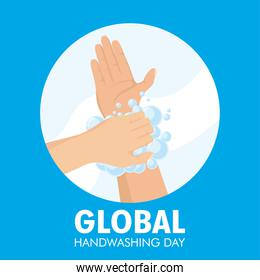 global handwashing day campaign with lettering and foam