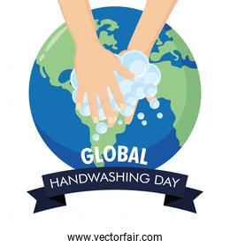 global handwashing day campaign with hands and earth planet in ribbon frame