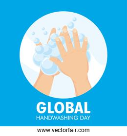 global handwashing day campaign with lettering and foam in circular frame