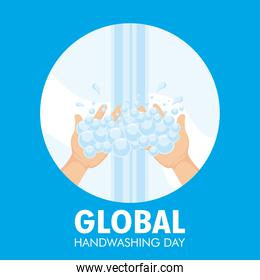 global handwashing day campaign with water and foam in circular frame
