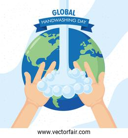 global handwashing day campaign with water and earth planet