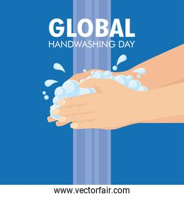 global handwashing day campaign with water and soap foam