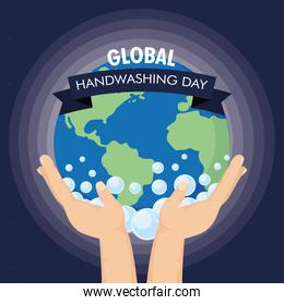 global handwashing day campaign with hands lifting earth and ribbon frame