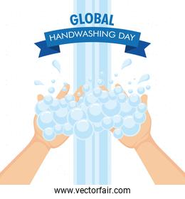 global handwashing day campaign with hands and foam in ribbon frame