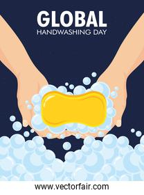 global handwashing day campaign with lettering and soap bar